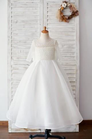 Elbow Sleeves Beaded Neoprene Tulle Wedding Flower Girl Dress with Bow