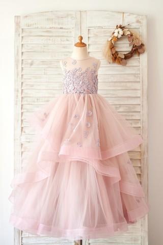 Mauve Lace Tulle Floor Length Wedding Flower Girl Dress