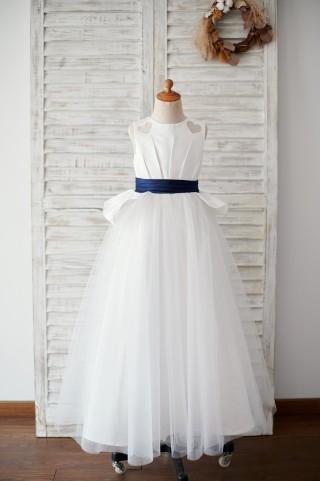 Ivory Satin Tulle Wedding Flower Girl Dress with Navy Blue Belt