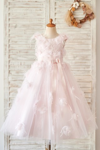 Pink Lace Tulle V Back Wedding Flower Girl Dress with Feather