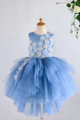 Blue Satin Tulle 3D Flowers Hi-low Wedding Flower Girl Dress