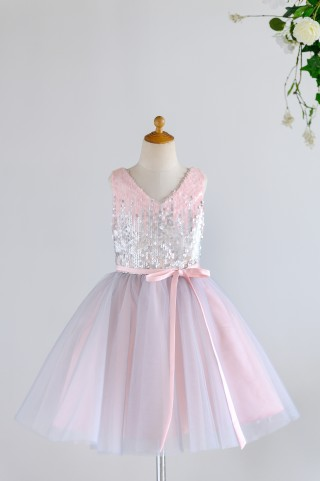 Pink Silver Gray Sequin Tulle V Neck Wedding Flower Girl Dress