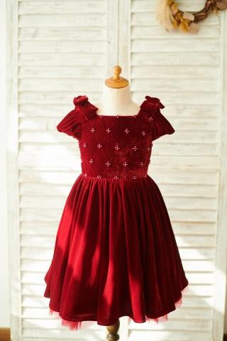 Burgundy Velvet Corset Back Cap Sleeves Wedding Flower Girl Dress