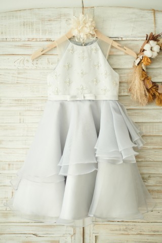 Ivory Satin Gray Organza Wedding Flower Girl Dress
