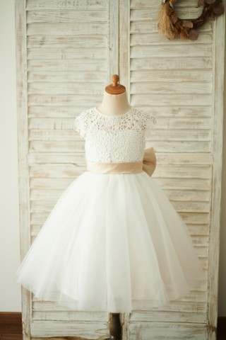Ivory Lace Tulle Cap Sleeves Wedding Flower Girl Dress with Bow