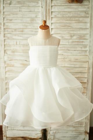 Ivory Organza V Back Wedding Flower Girl Dress