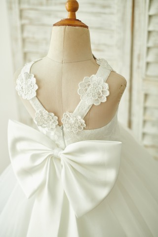Ivory Lace Tulle Straps Wedding Flower Girl Dress with Big Bow