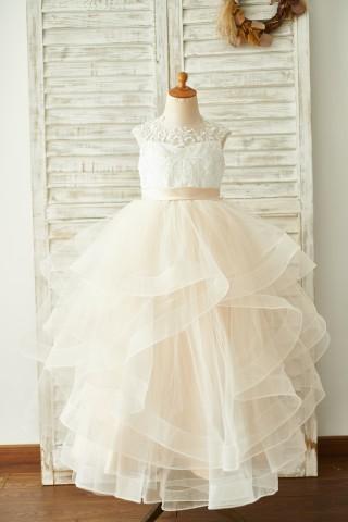 Ivory Lace Champagne Tulle Floor Length Wedding Flower Girl Dress