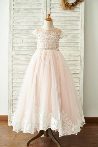 Lace Tulle V Back Cap Sleeves Floor Length Wedding Flower Girl Dress