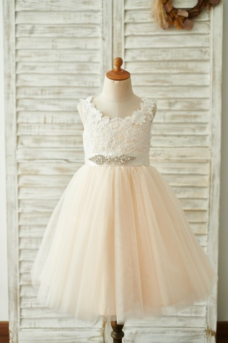 Champagne Lace Tulle Deep V Back Wedding Party Flower Girl Dress with belt