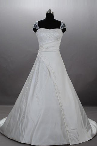 A-line Embroidered Sheer Cap Sleeves Gathered Ruched Satin Court Wedding Gown