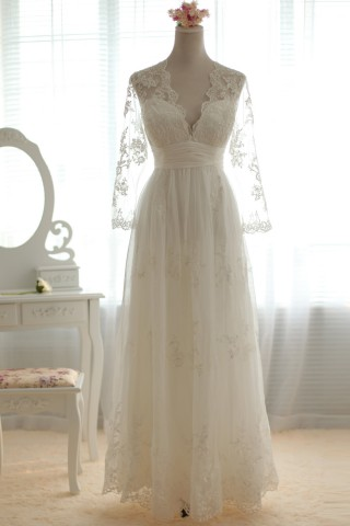 A-line Scalloped V-neck Sheer Long Sleeves Empire Waist Pleated Sweep Lace Wedding Dress