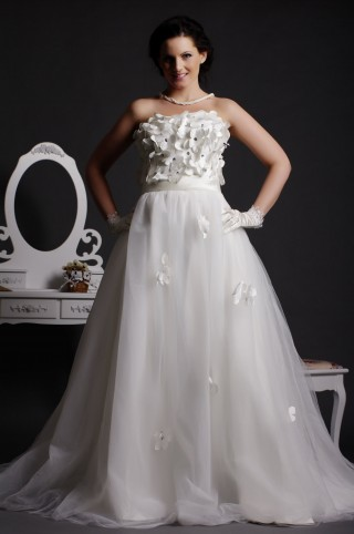 A-line Strapless Crystals Blooms Bodice Layered Court Tulle Wedding Dress w/ Satin Sash