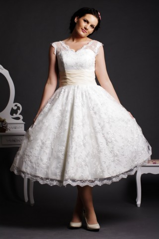 Ball Gown V-neck Sheer Shoulders Ruched Waist Layered Tea Length Lace Wedding Dress