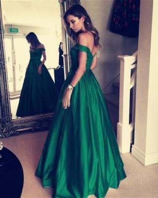 Green Satin Off Shoulder Wedding Prom Evening Party Dress