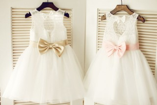 Keyhole Ivory Lace Tulle Wedding Flower Girl Dress/Champagne/Pink Bow Belt