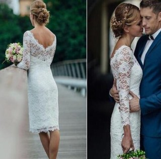 Ivory Lace Long Sleeves Short Wedding Party Dress