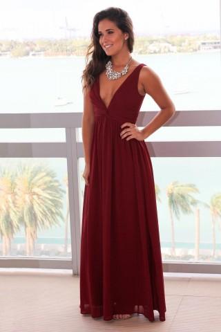 Burgundy Chiffon V Neck Back Wedding Prom Evening Party Dress