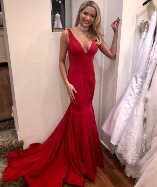 Red Chiffon Straps V Back Wedding Party Evening Dress