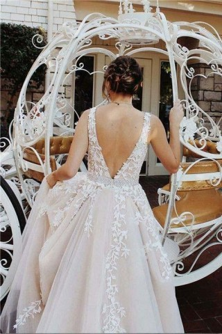 Champagne Lace Tulle Deep V Neck Back Wedding Party Dress