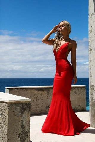 Red Chiffon Straps Backless Wedding Party Evening Dress