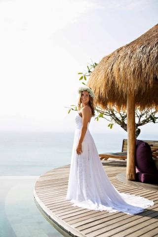 Ivory Lace Chiffon Spaghetti Straps Wedding Party Dress