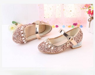 Gold/Silver Sequin Rhinestone Wedding Flower Girl Shoes High Heels Princess Dancing Shoes