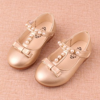 Gold/Sliver Pretty Pearl Wedding Flower Girl Shoes Flat Kids Party Shoes