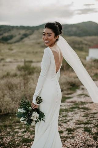 Ivory Satin Long Sleeves V Back Wedding Party Dress
