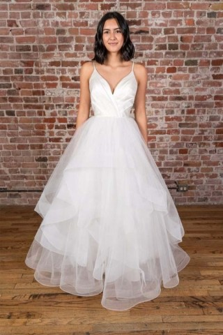 Simple Spaghetti Straps Backless Satin Tulle Wedding Dress