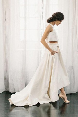 Ivory Satin Two Piece Wedding Dress with Sweep Train