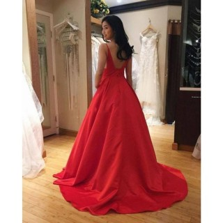 Red Satin Spaghetti Straps V Back Wedding Party Dress