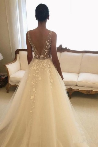 Ivory Lace Tulle Straps V Back Wedding Party Dress