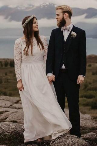 Sheer Illusion Neckline Ivory Chiffon Lace Long Sleeves Wedding Dress