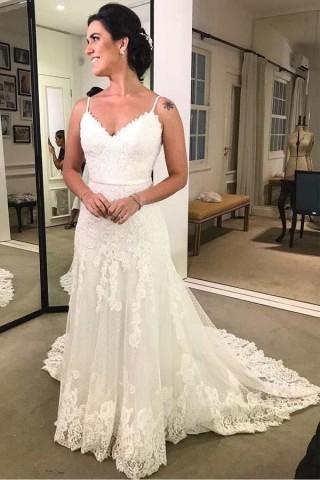Ivory Lace Polka Dot Tulle Spaghetti Straps V Back Wedding Dress