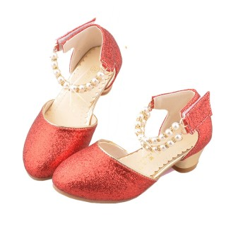 Ivory/Red/Pink Sequin Pearls Flower Girl Shoes Kids Sandals Wedding Shoes