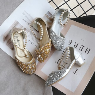 Gold/Silver Sequin Pearls Wedding Flower Girl Shoes Princess Shoes