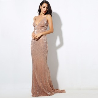 Sequin V Neck Backless Long Dress Party Evening Dress NAVY/SILVER/PINK/BLACK/RED/Champagne LM80119