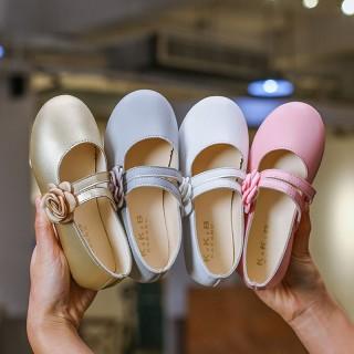 Ivory/Gold/Pink Wedding Flower Girl Shoes Ballet Flat Princess Shoes