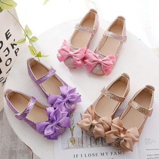 Purple/Pink/Gold Bowknot Sequin Wedding Flower Girl Shoes Kids Baby Princess Shoes