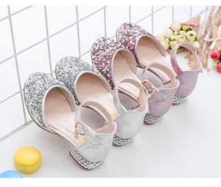 Silver/Pink Glitter Rhinestone High Heel Baby Kids Princess Party Shoes Wedding Flower Girl Shoes