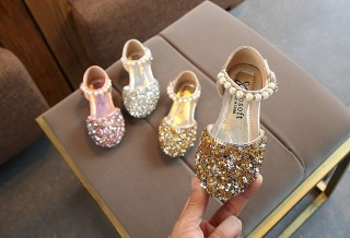 Silver/Gold/Pink Beaded Flower Girl  Shoes Baby Dancing Kids Sandals Wedding Shoes