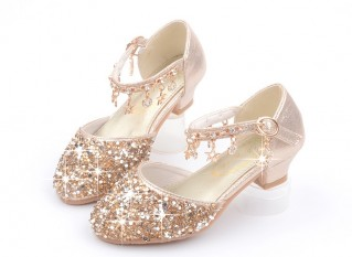 Gold/Silver/Pink Sequin Rhinestone Sandals Wedding Flower Girl Shoes High Heels Princess Dancing Shoes