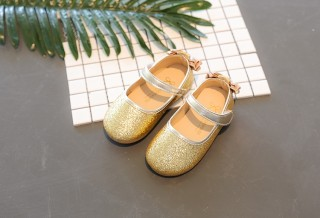 Gold/Silver/Lavender Sequin Wedding Flower Girl Shoes Baby Kids Bow Flats Princess Shoes