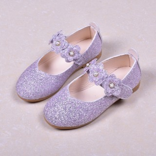 Black/Green/Lavender Leather Sequin Pearl Flat Princess Shoes Wedding Flower Girl Shoes