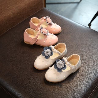 Ivory/Pink Leather Pearl Bead Flower Girl Shoes Wedding Party Princess Shoes