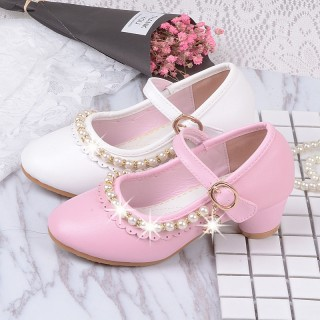 Ivory/Pink Leather Rhinestone Pearls Wedding Flower Girl Shoes High Heels Princess Shoes