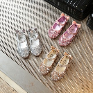 Gold/Silver/Pink Leather Bow Sequin Flower Girl Shoes Wedding Party Princess Shoes