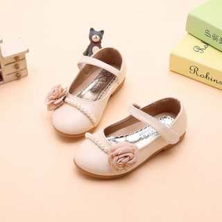 Ivory/Pink/Blue Leather Pearl  Flower Girl Shoes Wedding Princess Party Shoes