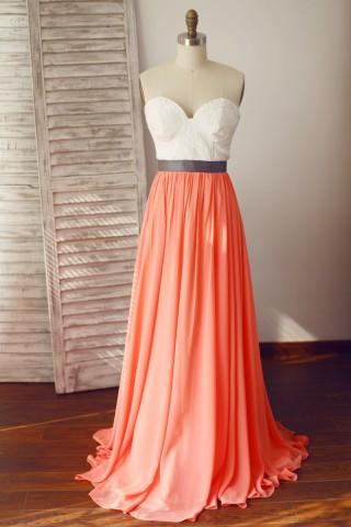 Strapless Lace Coral Chiffon Wedding Bridesmaid Dress